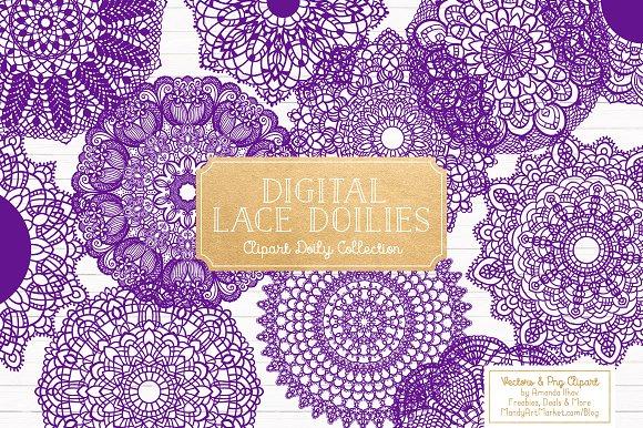 Violet Round Lace Doilies Vectors