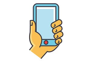 Hand holding smartphone or mobile phone concept. Line vector icon. Editable stroke. Flat linear illustration isolated on white background
