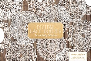 White Lace Doilies - Vectors & PNGS