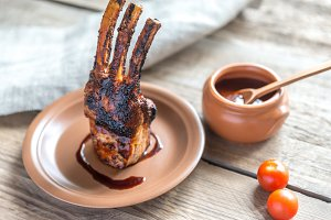 Grilled pork ribs on wooden table