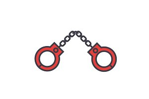 Handcuffs concept. Line vector icon. Editable stroke. Flat linear illustration isolated on white background