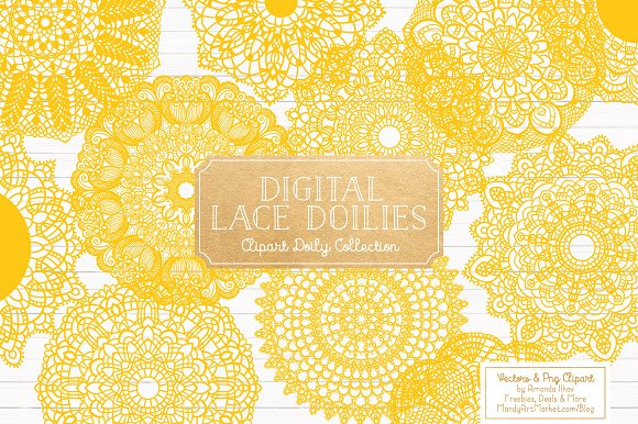 Yellow Round Lace Doilies