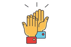 Hands clapping concept. Line vector icon. Editable stroke. Flat linear illustration isolated on white background