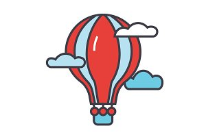 Hot air balloon concept. Line vector icon. Editable stroke. Flat linear illustration isolated on white background