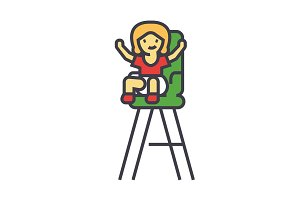 Kid in the child chair concept. Line vector icon. Editable stroke. Flat linear illustration isolated on white background
