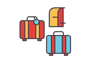 Luggage concept. Line vector icon. Editable stroke. Flat linear illustration isolated on white background