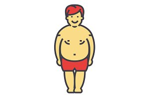 Fat man before diet and fitness concept. Line vector icon. Editable stroke. Flat linear illustration isolated on white background