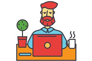 Man with beard working on notebook computer, businessman, make money online, education, freelance concept. Line vector icon. Editable stroke. Flat linear illustration isolated on white background