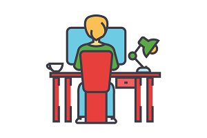 Young man working on computer sitting behind the office desk concept. Line vector icon. Editable stroke. Flat linear illustration isolated on white background