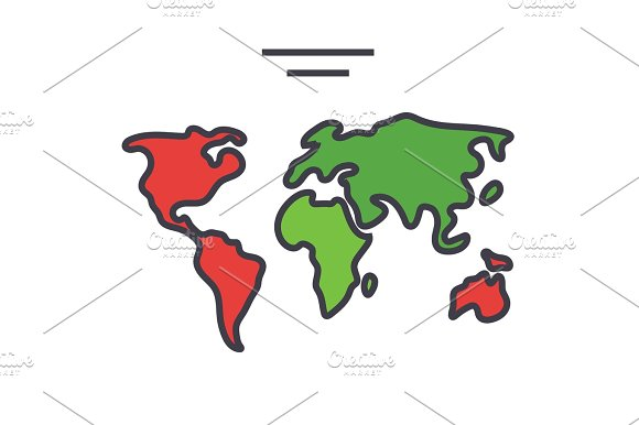 World map continents globe concept line vector icon editable world map continents globe concept line vector icon editable stroke flat linear illustration isolated on white background gumiabroncs Gallery