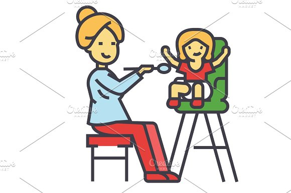 Mother feeding child in highchair, child feeding concept. Line vector icon. Editable stroke. Flat linear illustration isolated on white background