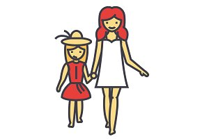 Happy mother with smiling daughter on vacation concept. Line vector icon. Editable stroke. Flat linear illustration isolated on white background