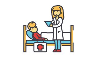 Nurse and patient, doctor, clinic, hospital concept. Line vector icon. Editable stroke. Flat linear illustration isolated on white background