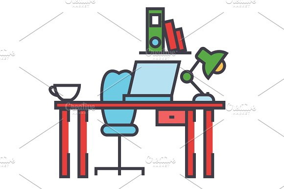 Office desk, workplace, workspace concept. Line vector icon. Editable stroke. Flat linear illustration isolated on white background