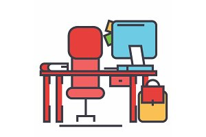 Office desk with computer and chair concept. Line vector icon. Editable stroke. Flat linear illustration isolated on white background