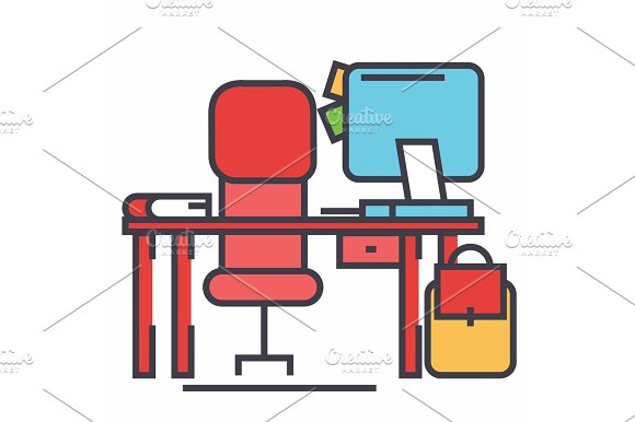 Office desk with computer and chair concept. Line vector icon. Editable stroke. Flat linear illustration isolated on white background in Illustrations
