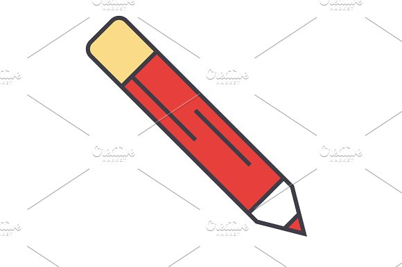 Pencil, office, contour concept. Line vector icon. Editable stroke. Flat linear illustration isolated on white background