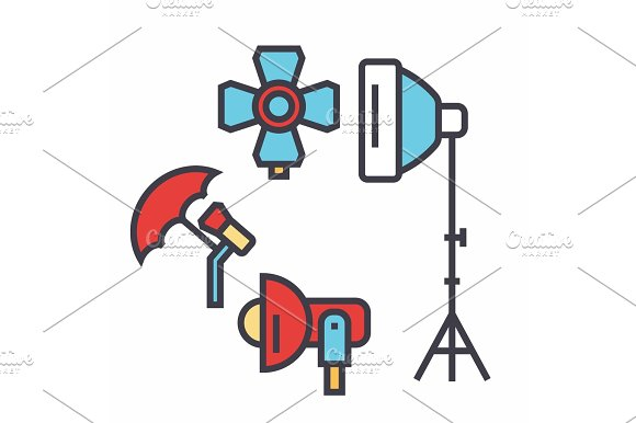 Photo light studio, lighting equipment, photographer concept. Line vector icon. Editable stroke. Flat linear illustration isolated on white background