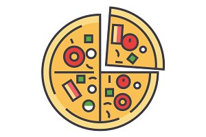 Pizza, pizzeria, fast food concept. Line vector icon. Editable stroke. Flat linear illustration isolated on white background