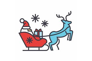 Santa Claus in a sleigh with a deer concept. Line vector icon. Editable stroke. Flat linear illustration isolated on white background