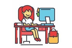 School girl, study workplace, table with computer, book and backpack concept. Line vector icon. Editable stroke. Flat linear illustration isolated on white background