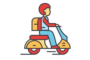 Travel scooter, bike, hipster rider, motorcycle, moped concept. Line vector icon. Editable stroke. Flat linear illustration isolated on white background