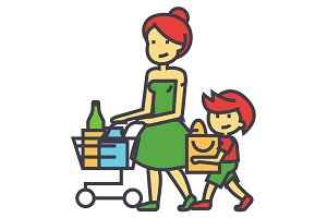 Shopping grocery, mother with son and shopping cart, retail concept. Line vector icon. Editable stroke. Flat linear illustration isolated on white background