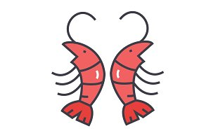 Shrimp, prawn concept. Line vector icon. Editable stroke. Flat linear illustration isolated on white background