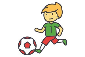 Soccer, boy playing football concept. Line vector icon. Editable stroke. Flat linear illustration isolated on white background