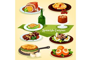Spanish cuisine lunch with dessert cartoon icon