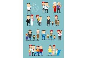 Family activity cartoon character set design