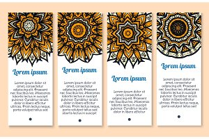 Paisley flower, indian mandala ornament banner set