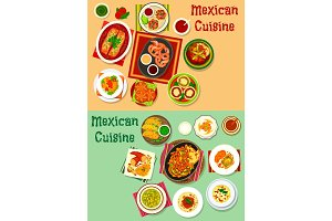Mexican cuisine lunch dishes with meat snack icon