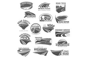 Asphalt road, highway and speed freeway symbol set