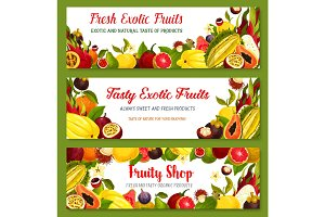 Exotic tropical fruit frame and border banner set