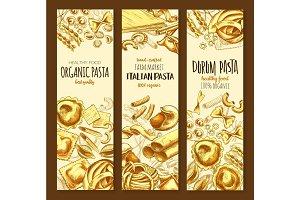 Italian cuisine pasta and spaghetti sketch banner