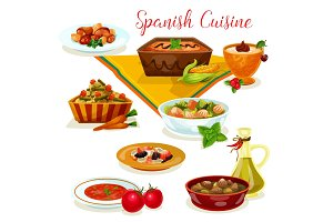 Spanish cuisine tasty dinner menu cartoon icon