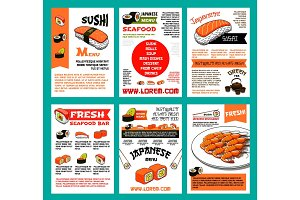 Sushi menu template set for japanese food design