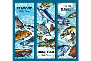 Fresh seafood and fish market sketch banner set