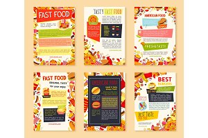 Fast food meal and drink banner template set