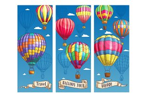Hot air balloon sketch banner for travel design