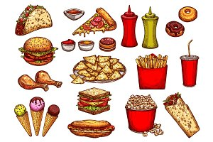 Fast food burger, drink and dessert sketch set