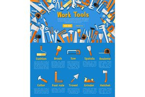 Work tools poster for hardware store design