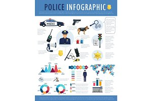 Police infographic for crime, law, justice design