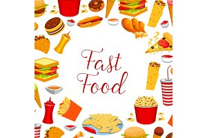 Fast food restaurant meal frame poster design