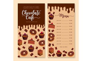 Chocolate cake and dessert menu template design