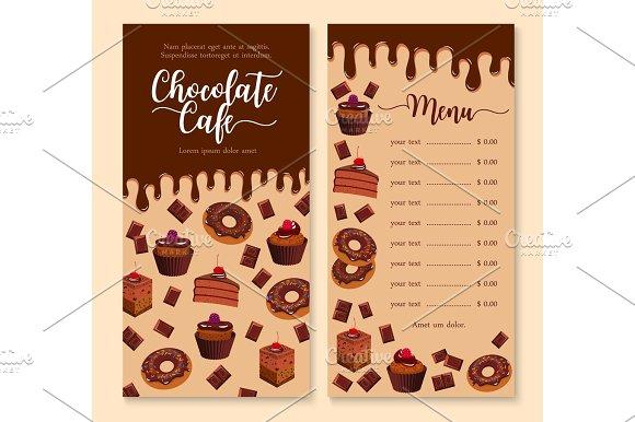 Chocolate cake and dessert menu template design