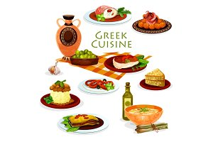 Greek cuisine healthy lunch dishes cartoon icon