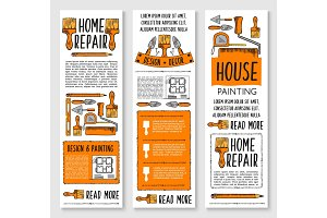 Home repair, painting, interior design banner set