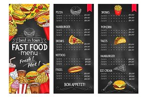 Fast food restaurant chalkboard menu template